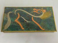 Pepe Mendoza Era MCM Brass/Malachite Horse Inlay Cigarette Box Mexican Modernist