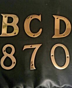 LARGE THICK SOLID POLISHED BRASS LETTERS NUMBERS + Screws SIZE 75mm B C D 8 7 0