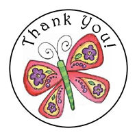 OPTIONAL SIZES 1.20 INCH 48 BLUE BUTTERFLIES THANK YOU STICKER LABELS