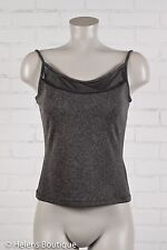 Dina Bar-el woman's top size M black gray sheer chest tank pullover casual
