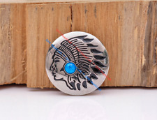 10x Silver Plated South Indian Chief Turquoise Leathercraft CONCHOS SCREW BACK