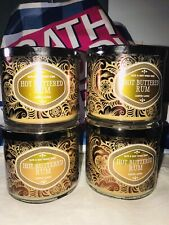 4 Bath Body Works Hot Buttered Rum Large 3-Wick Candles  14.5 oz