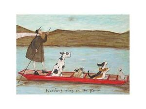 """Sam Toft """"Woofing Along on the River"""" Print 15.75 x 11.75"""