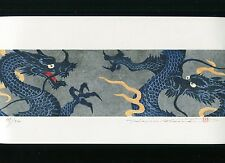 NAMIKI HAJIME Japanese woodblock print ORIGINAL Hanga DRAGON Signed