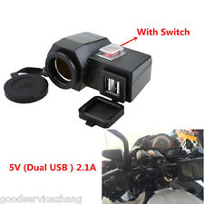 12V Motorcycle Cigarette Lighter GPS Dual USB Power Socket Charger with Switch