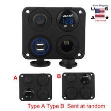 4in1 Panel Dual Usb Socket Charger+Led Voltmeter+12V Power Outlet Fits Car Boat