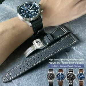 20/21/22mm Watch Band Strap Leather Nylon Made For IWC Pilot SPITFIRE MARK18