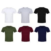 Mens Short Sleeve V Neck Cotton Slim Casual Tee Shirts Gym Running Tops T Shirt