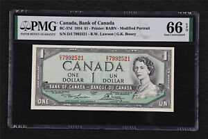 1954 Canada Bank of Canada BC-37d 1 Dollar PMG 66 EPQ Gem UNC