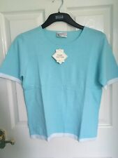 BHS Pure Cotton Topaz Blue Short Sleeves Sweater Top Womens Size 12 New With Tag