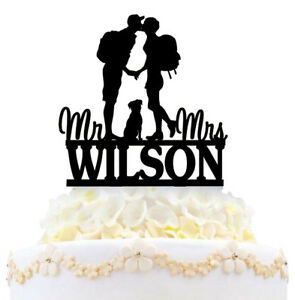 Personalized Hiking Couple Dog Wedding Cake Topper Backpacking Mr & Mrs Outdoor
