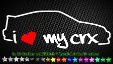 I love my CRX EE8 ED9 Honda JDM VTEC Sticker Aufkleber 20cm x 7cm