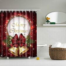 Vintage Shower Curtain Bathroom Waterproof Liner w/ 12 Hooks Christmas Bells