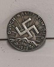 Piece Hitler 1933 2RM Reichsmark Coin Durch K zum Sieg ww2 German