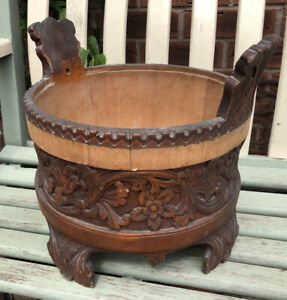 Vintage Beautifully Carved Wooden Plant Holder / Stand - In Need of Restoration