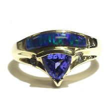 14k yellow gold .04ct VS G diamond tanzanite inlay opal ring 7.3g estate vintage