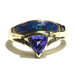 14k yellow gold .04ct diamond tanzanite inlay opal gemstone ring 7.3g estate 7.5
