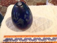 Signed Maytum Studio 1991 Art Glass Iridescent Purple Blue Pear Shaped