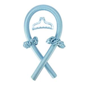 Women Girls Silk Ribbon Hair Curler Heatless Curling Rod Headband Wave Former US