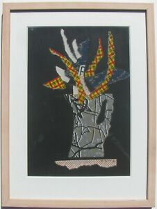 "JENNIFER MCDUFF AUSTRALIAN FRAMED COLLAGE ""ABSTRACT JAPANESE PAPER"" 1992 A"