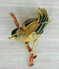 Signed MARCEL BOUCHER Bird on Branch BROOCH 3 Dimension Gold Tone Vintage Pin
