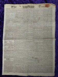 1815 Napoleonic era Edition of 'The Times' Newspaper - 22th April