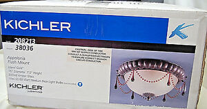Kichler 39036 Beaded Appolonia Flush Mount 2 Light Indoor Ceiling Fixture  M4231