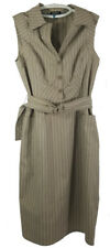 Adrianna Papell Womens Dress Sleveless Shirt Dress Belt  Side Zip Taupe Size 12