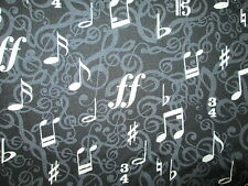 MUSIC NOTES BLACK WHITE INLAY BACKGROUND COTTON FABRIC BTHY