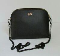 NEW Michael Kors Dome Large Crossbody Black Leather Shoulder Bag