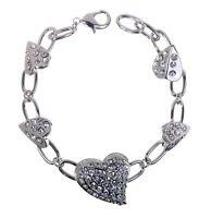 Swarovski Elements Crystal Subtle Heart Bracelet Rhodium Plating Authentic 7111y