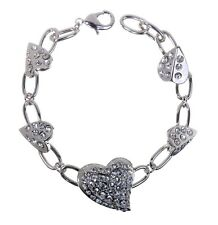 Swarovski Elements Crystal Subtle Heart Bracelet Rhodium Plating Authentic 7111v