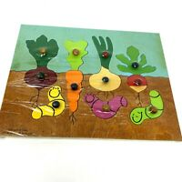 Vintage Every Buddies Garden 7pc Wooden Growing Veggies Jigsaw Puzzle Ages 1-4