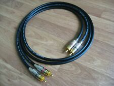1m Pair - Van Damme RCA Phono Cables - Pro Grade Silver Plated Pure OFC Black