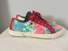 Girls Women's Genuine UGG Canvas Shoes Trainers Multi Colour Fur Lined Sz 4.5/37