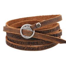 Punk Genuine Leather Wrap Cuff Bangle Bracelet Men Women Wristband Cool Jewelry