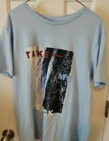 Men's H&M Light Blue 100% Cotton Take Me Back Crewneck T-Shirt Size L