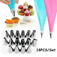 18 PCS Cake Decorating Tool Set Silicone Pastry Bag Nozzles Tips Baking Supplies