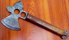 "CUSTOM DAMASCUS STEEL HUNTING AXE KNIFE / TOMAHAWK / BOWIE / SWORD / HATCHET 14"""
