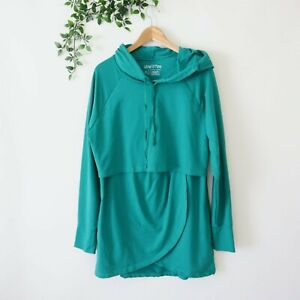Latched Mama Hooded Long Sleeve Nursing Top XL Extra Large Green