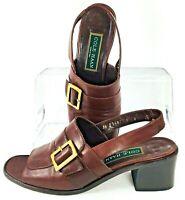 Cole Haan Slingback Sandal Womens 8 B Brown Leather Block Heel Dress Heels Italy