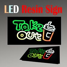 "Lighted Led Resin Window Sign Take Out Food Drink Non Neon Display 17"" x 9"""