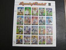United States Scott 3408 Legends of Baseball Mint MNH Pane of 20
