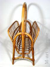 alter Zeitungsständer Ablage Kleinmöbel Bambus Rattan Bamboo Magazine Rack 50´s