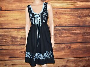 Black cotton Dirndl dress Bavarian dress Oktoberfest dress  Size 40