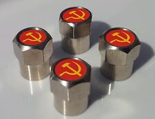 RUSSIA RUSSIAN HAMMER & SICKLE FĹAG TYRE VALVE CAPS FOR TIRE VALVES