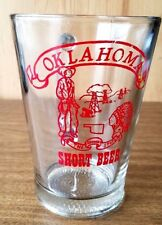 OKLAHOMA SHORT BEER, THE SOONER STATE. BEER GLASS. OIL RIGS, COWBOYS, NATIVES