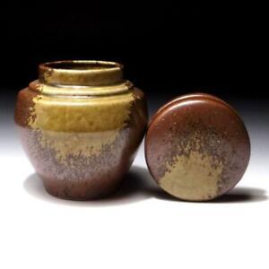 $OB43 Vintage Japanese Double-capped Pottery Tea Caddy, Shigaraki Ware