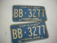 Vintage Pair of Maryland License Plates 1969