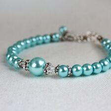 Aqua blue vintage pearls crystals beaded bracelet party wedding bridesmaid gift